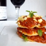 Easy Mushrooms Stuffed Ravioli with Tomato and Basil Sauce