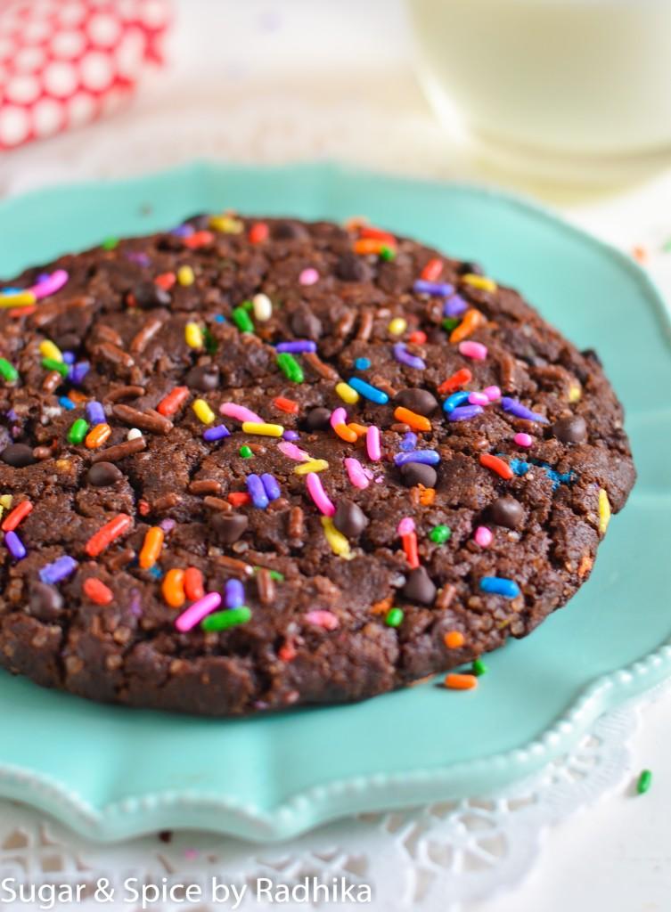 Giant Dark Chocolate Chip Sprinkle Cookie Eggless