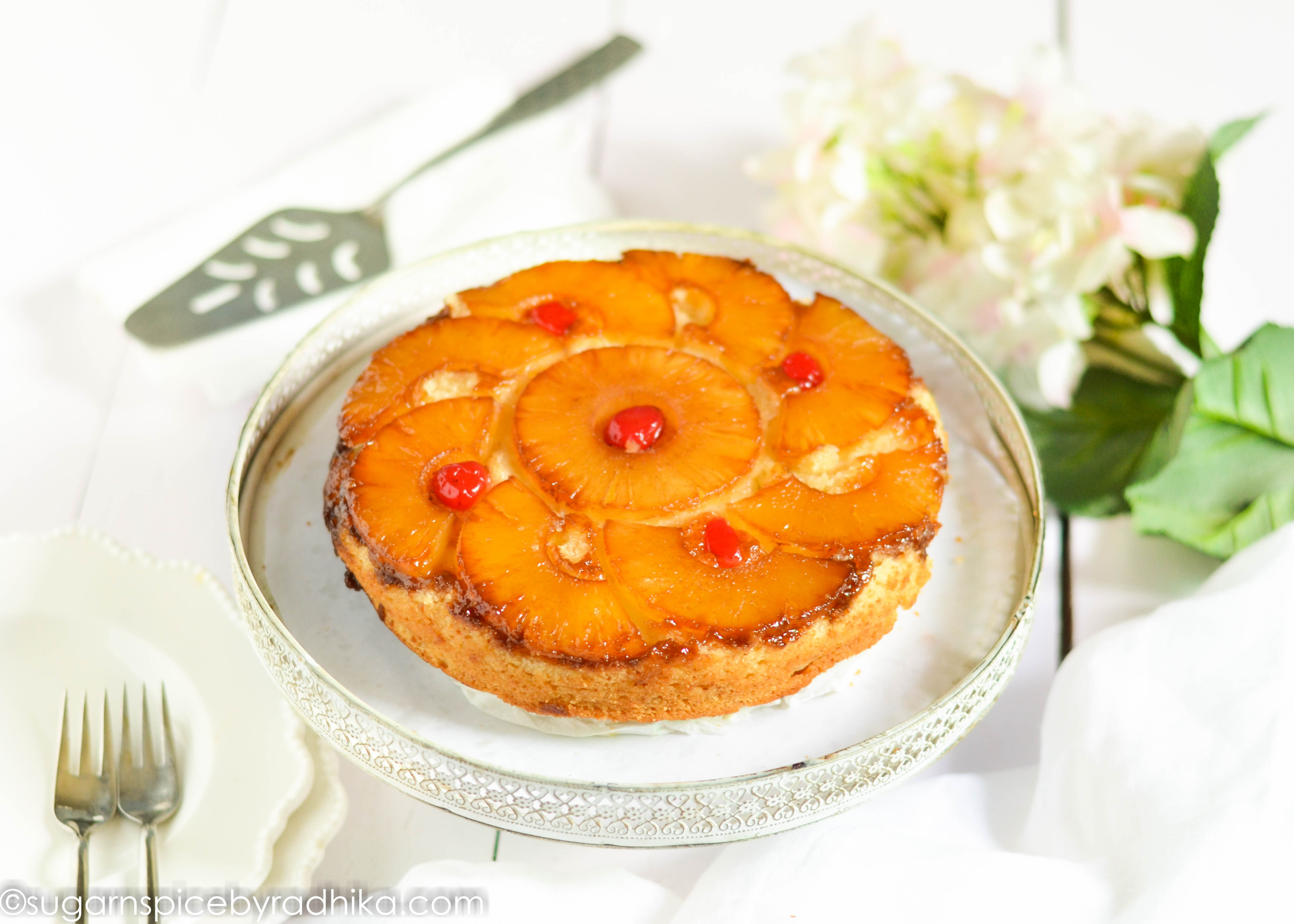 Pineapple Upside Down Cake (eggless)