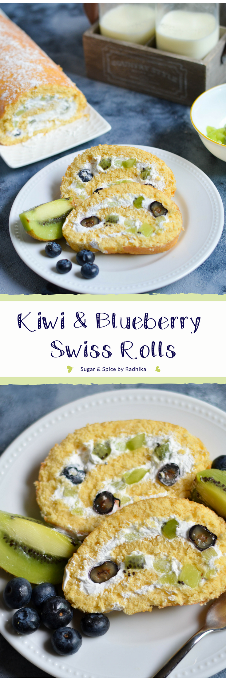 Kiwi and Blueberry Swiss Roll - This light and airy cake filled with fresh kiwis and blueberries is the ultimate dessert! It's really simple to make and takes only about 30 minutes start to finish.