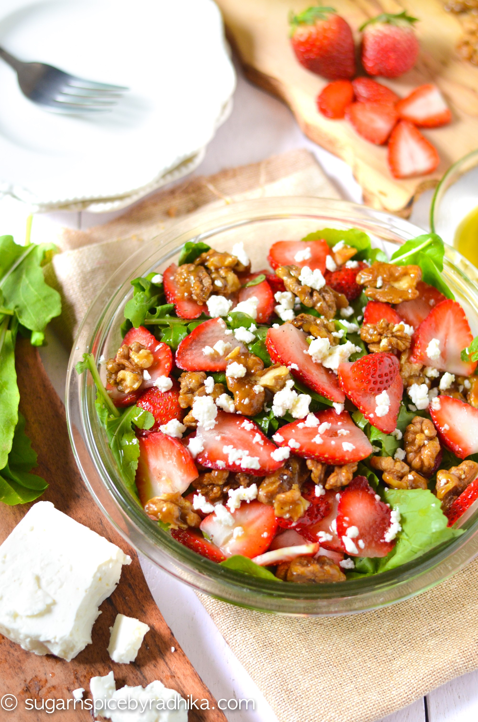 Strawberry Salad with Candied Walnuts and Feta