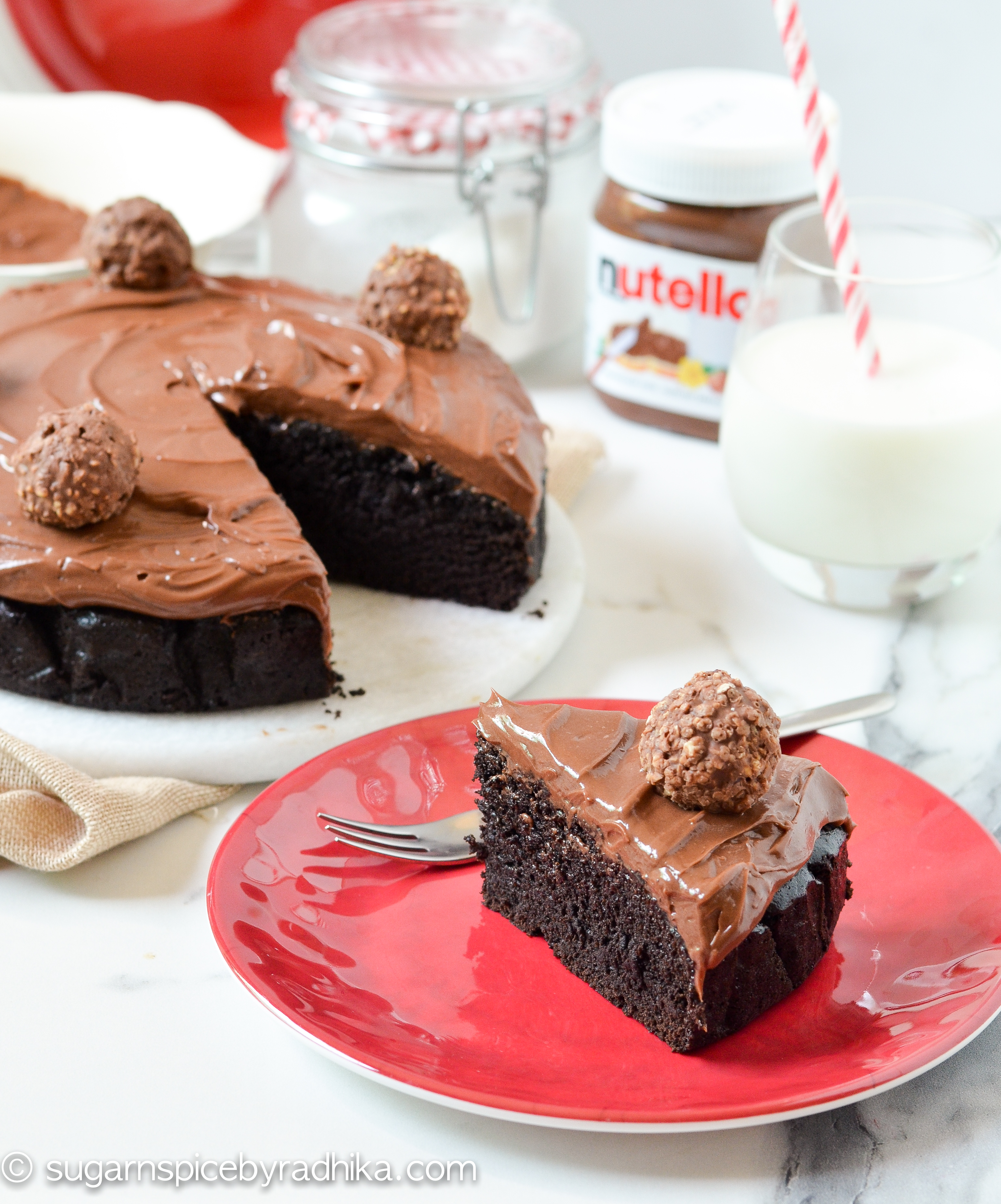 Eggless Chocolate Cake with Nutella Frosting