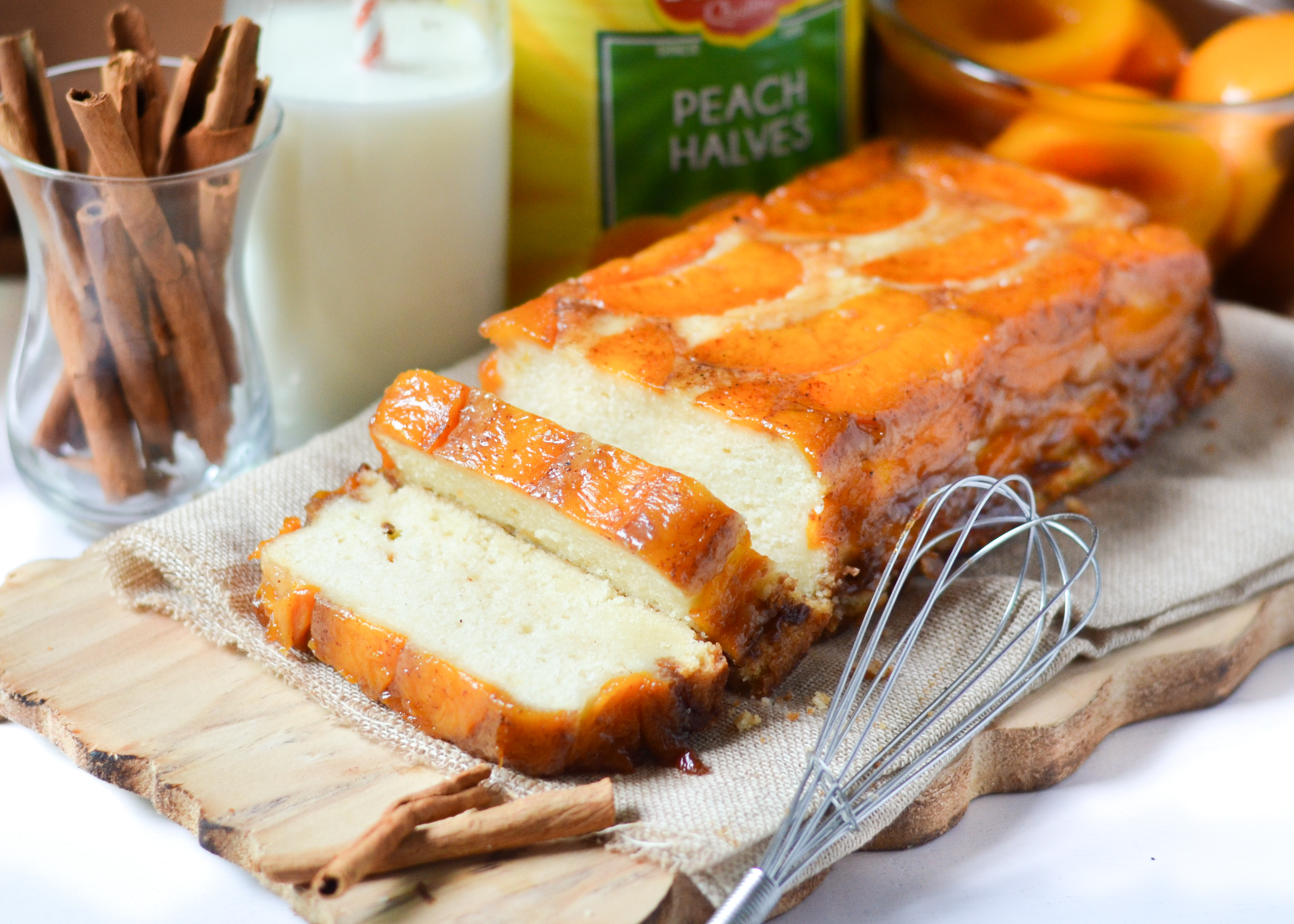 Upside Down Peach Cake (eggless)