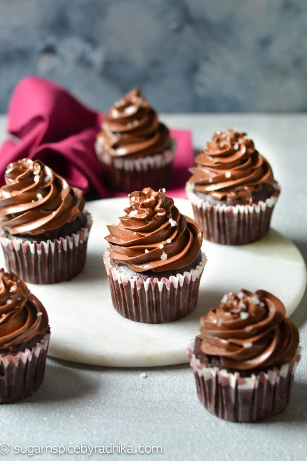 Eggless Chocolate Cupcakes with Chocolate Buttercream Frosting